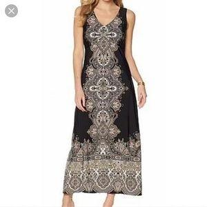 Liz Lange Black Tan Damask Print Maxi Dress size M